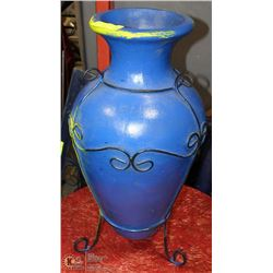 YELLOW AND BLUE WROUGHT IRON MEXICAN CLAY POT