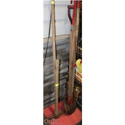 2 BUNDLES OF YARD TOOLS, BRANCH CUTTER, SHOVEL