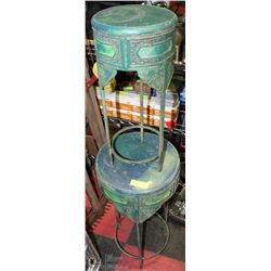 "2 PAINTED METAL PLANT STANDS 9""X22"", 14""X28"""
