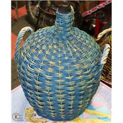 "3 HANDLED BLUE DEMI-JOHN WINE JUG 22""X14"""