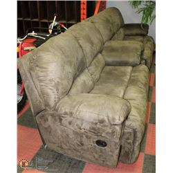 GREEN MICROFIBRE RECLINING LOVESEAT X2