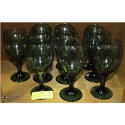 SET OF 10 CRYSTAL GREEN GLASS WINE GLASSES