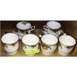 8PC ROYAL ALBERT OLD COUNTRY ROSES INCL 2 CUPS &