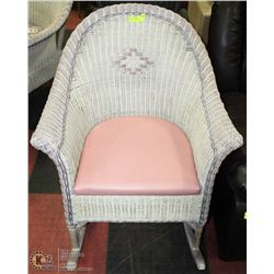 WHITE WICKER ROCKER W/ TAG