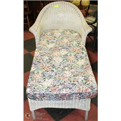 WHITE WICKER CHAISE LOUNGER