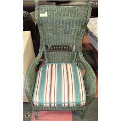 GREEN WICKER PATIO  ACCENT CHAIR WITH CUSHION