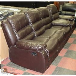 NEW MARTIN BROWN LEATHERETTE RECLINING SOFA WITH