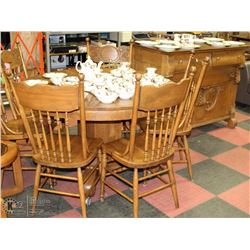 WOODEN DINING SET INCL 4' TABLE, 6 CHAIRS & HUTCH