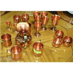 18PC COPPERCRAFT GUILD COPPER CUPS, POT & ASST