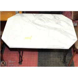MARBLE AND WROUGHT IRON SIDE TABLE