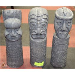 24) SET OF THREE GARDEN TOTEM POLE STATUES