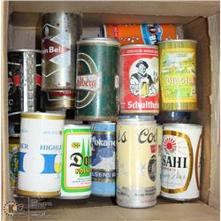 BOX OF VINTAGE BEER & SODA CANS