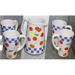 CERAMIC PITCHER WITH 4 CUPS
