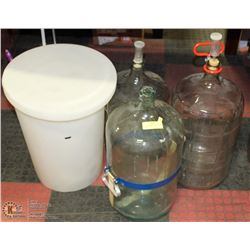 11) 2 WINE MAKING JUGS AND ALCOHOL TESTER