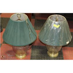 PAIR OF BRASS & GLASS BASE GREEN SHADE LAMPS