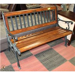 LARGE IRON AND WOOD OUTDOOR BENCH