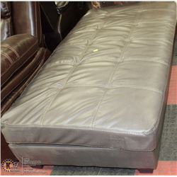 GREY LEATHERETTE LARGE OTTOMAN