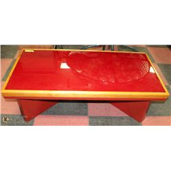 VINTAGE RETRO WOOD WITH RED GLASS COFFEE TABLE