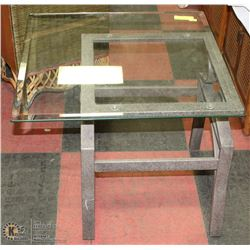 WROUGHT IRON AND GLASS END TABLE