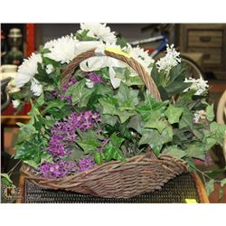 PAIR OF DECORATIVE SILK FLOWERS IN BASKETS
