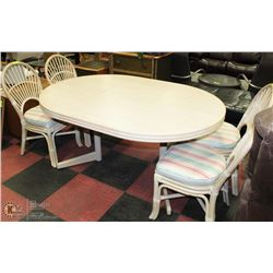 ROUND WHITE WOOD DINING TABLE W/ LEAF & 4 CHAIRS
