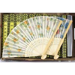 LOT OF 30 HANDPAINTED HAND FANS