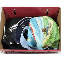 FLAT OF TRUCKER HATS AND BACKPACK.