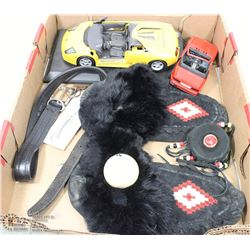 MOCCASINS WITH DRUM DECORATION AND CARS