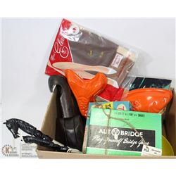 BOX WITH VINTAGE ITEMS INCL SHOE STRETCHERS , 2001