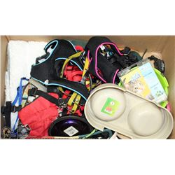 LARGE BOX OF PET ACCESSORIES INCL HARNESSES,