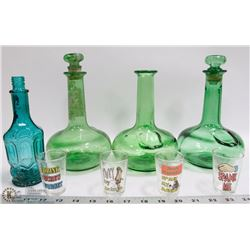 LOT OF GREEN DECANTERS, AVON BOTTLE AND 4 SHOT