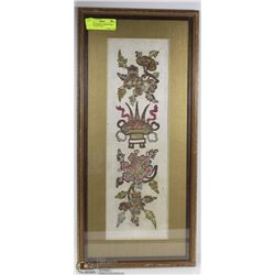 ANTIQUE FRAMED EMBROIDERED SATIN CLOTH 11X24