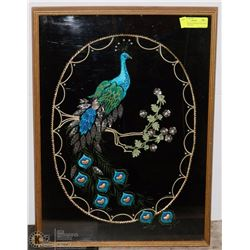 HAND CRAFTED APPLIQUE PEACOCK DESIGN PICTURE