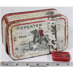 VINTAGE REPEATERS METAL TIN W/ PHOTOGRAPH NEEDLES