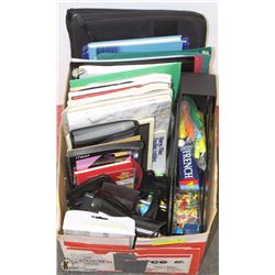 BOX FULL OF OFFICE SUPPLIES
