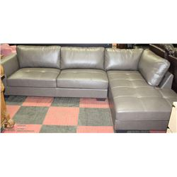 NEW GREY LEATHERETTE CHAISE LOUNGE SECTIONAL