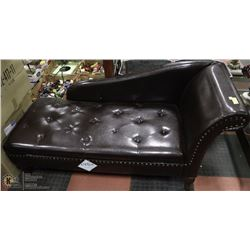 NEW BROWN LEATHERETTE CHAISE LOUNGE CHAIR