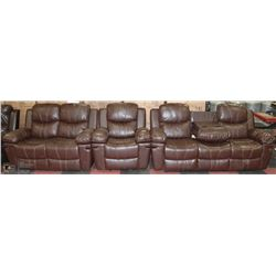 NEW NORWICH 3PC BONDED LEATHER CHAIR, LOVESEAT