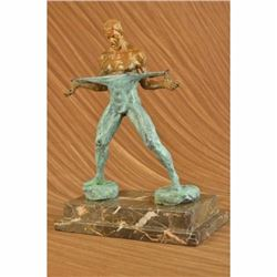Nude Male Fitness Model Muscle Man Flexing Bronze Sculpture