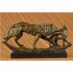 Wolf Protecting her Cub Bronze Sculpture on Marble Base Statue
