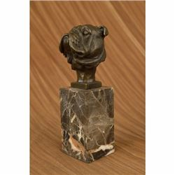 English Bulldog Dog Head Bronze Bust Sculpture