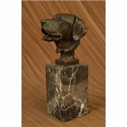 Happy Labrador Puppy Dog Bust on Marble Base Bronze Sculpture