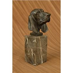 Hush Puppy Basset Hound Scent Dog Breeder Bronze on Marble Base Statue