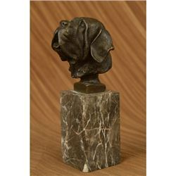 Saint Bernard Head Bust Bronze Sculpture on Marble Base Statue