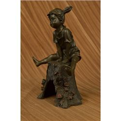 Girl On A Tree Stump Bronze Sculpture