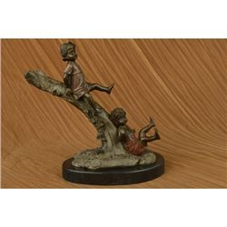 Art Taylor Home Decor Children on Tree Bronze Sculpture