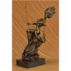 17 inches Nude Naked Bust Amazon Female Warrior With Bow Bronze Sculpture
