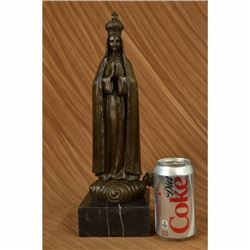 Religious Crowned Virgin Mary Bird Art Metal Bronze Sculpture