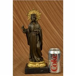 Gold Patina Crowned Virgin Mary Bronze Sculpture