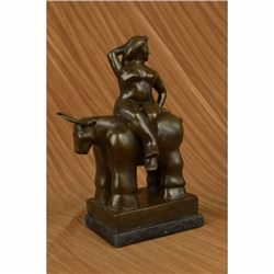 Abstract Mid Century Nude Girl With Bull Bronze Sculpture
